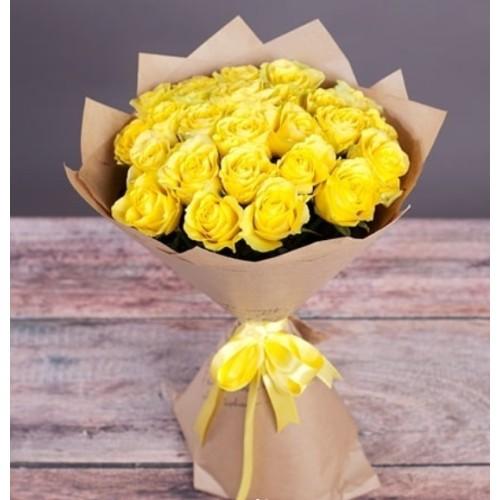 Купить на заказ Букет из желтых роз с доставкой в Семее